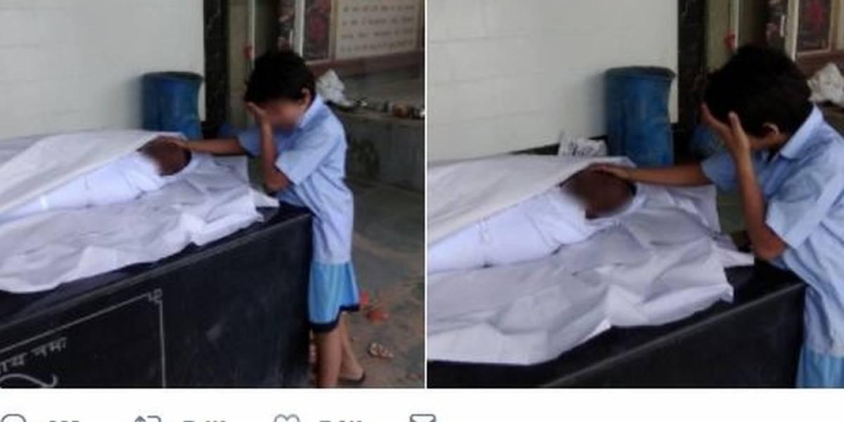A comovente foto de menino com pai morto que gerou R$ 180 mil em doações em um dia