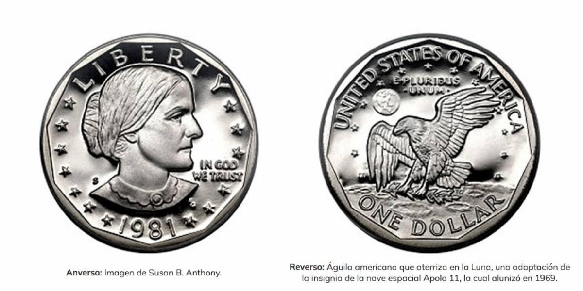 Moneda 1 dólar plateada
