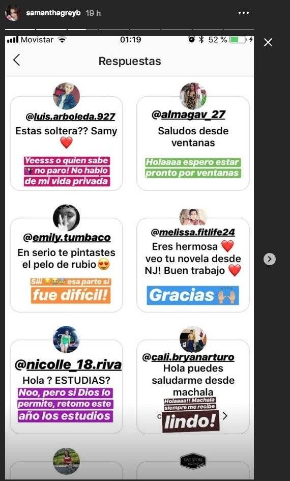 Captura Instagram de Samantha Grey