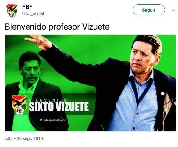 Bolivia elige al ecuatoriano Vizuete para dirigir sus selecciones menores