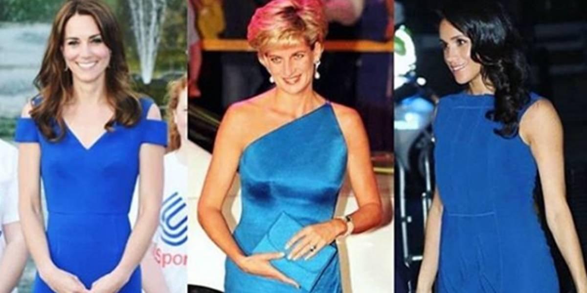 Azul:  a cor que Diana, Kate e Meghan compartilharam nesses belos vestidos