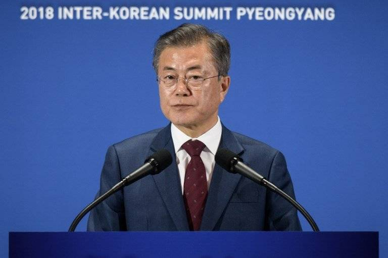 Moon Jae-in en conferencia de prensa