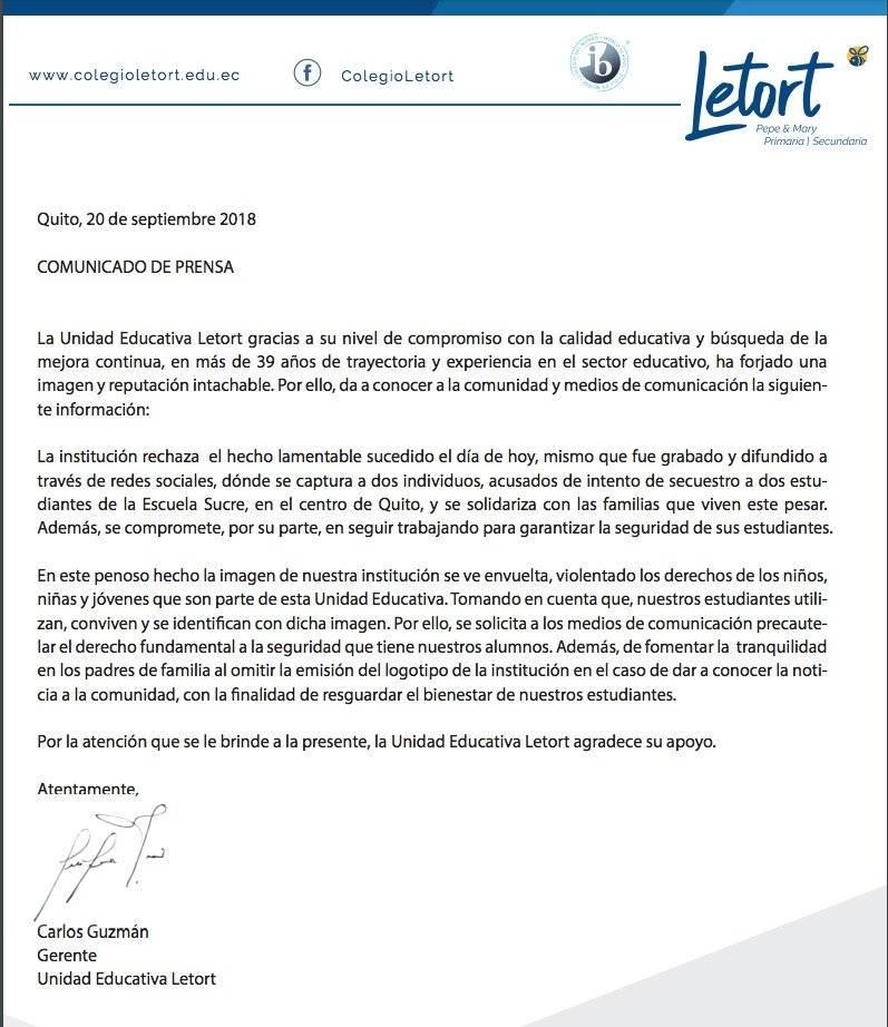 Quito: Intento de secuestro a un menor en la Unidad Educativa Sucre