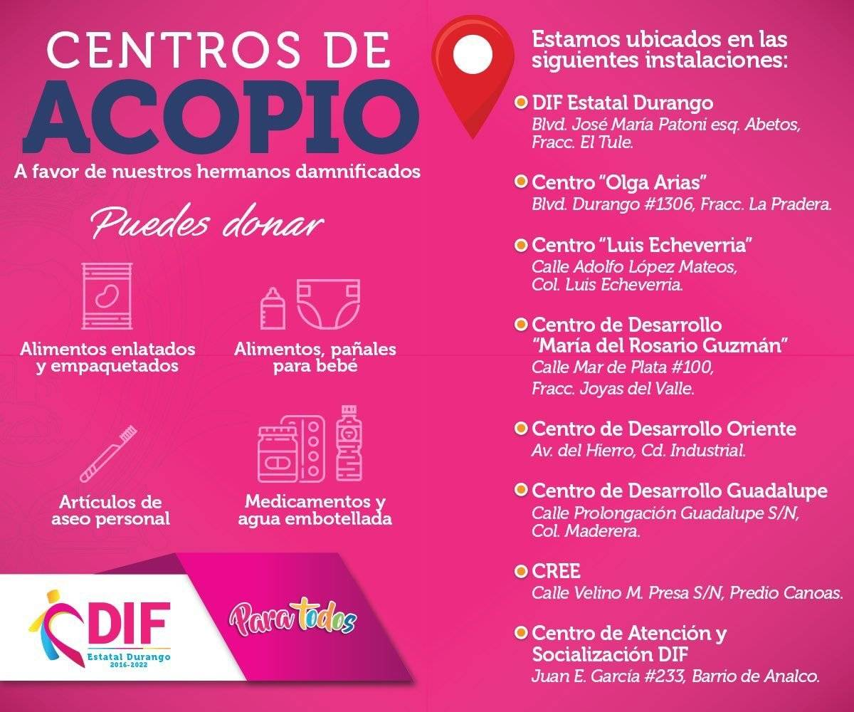 Centros de acopio en coordinación con el DIF Durango. Foto: Twitter