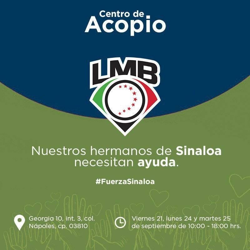 Oficinas de la Liga Mexicana de Béisbol (LMB). Se reciben: víveres, agua, ropa nueva, linternas, pilas, material de primero auxilios. Foto: Twitter