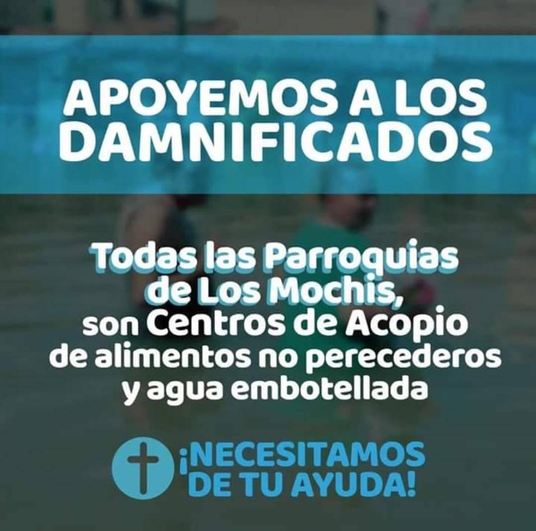 Parroquias de los Mochis como centros de acopio y Centro Caritas, activados. Foto: Twitter