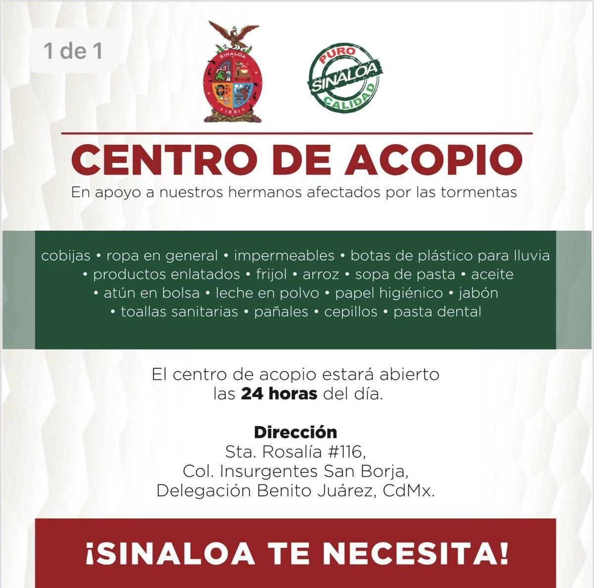 Representación del gobierno de Sinaloa en la Ciudad de México Foto: Twitter