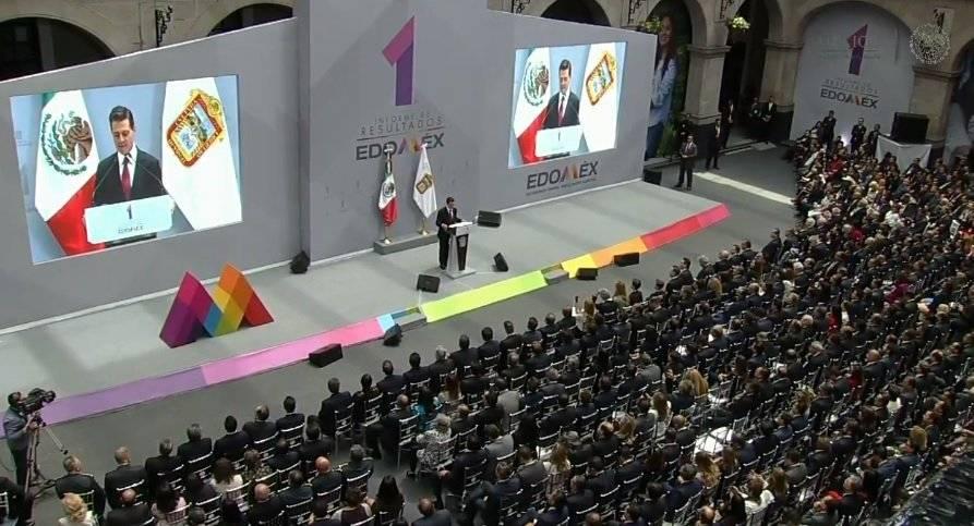El presidente Enrique Peña asistió al primer Informe de Gobierno de Alfredo del Mazo Foto: Twitter @PresidenciaMX