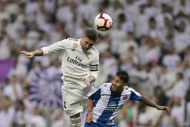 Sergio Ramos durante el partido ante el Espanyol