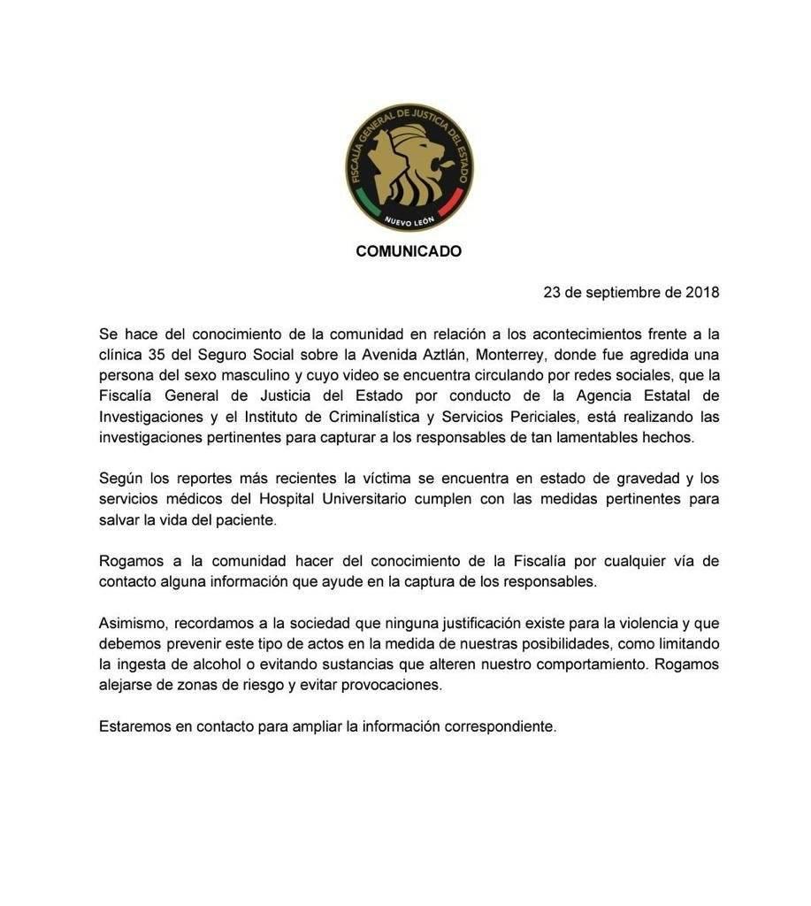 Comunicado Fiscalía de Nuevo León
