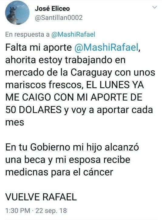 El mensaje de apoyo que recibió Rafael Correa