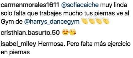 Critican las piernas de Sofía Caiche