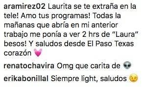 Comentario en Instagram Laura Bozzo