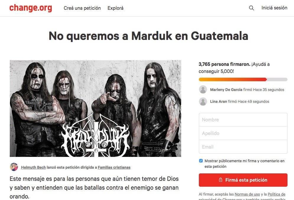 Recolectan firmas para impedir que Marduk toque en Guatemala