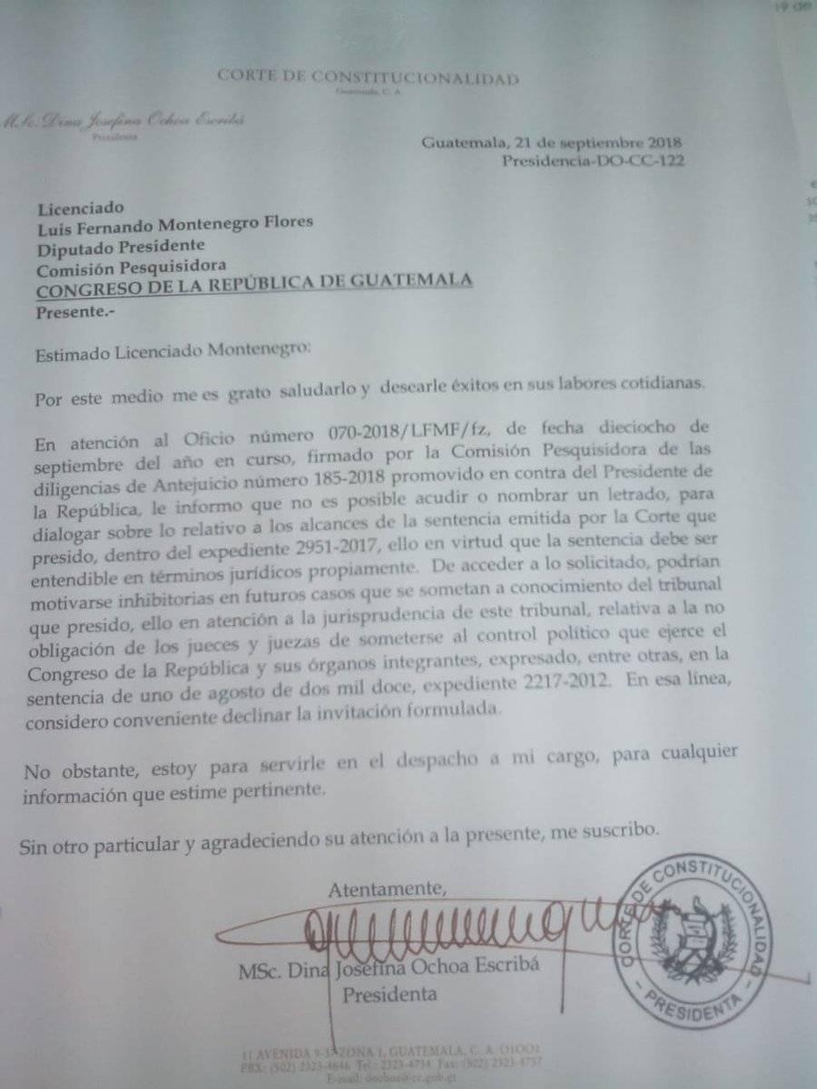 carta de magistrada de CC Dina Ochoa al Congreso