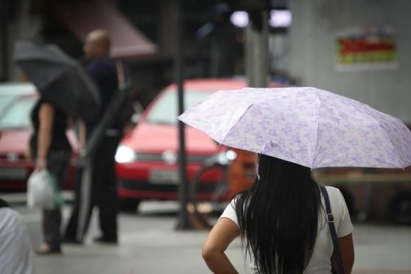 clima tempo sol calor chuva guarda chuva mulher