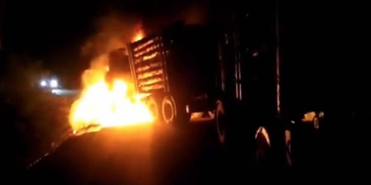 Ataque incendiario en Contulmo: encapuchados queman camión y dejan lienzo contra Plan Araucanía