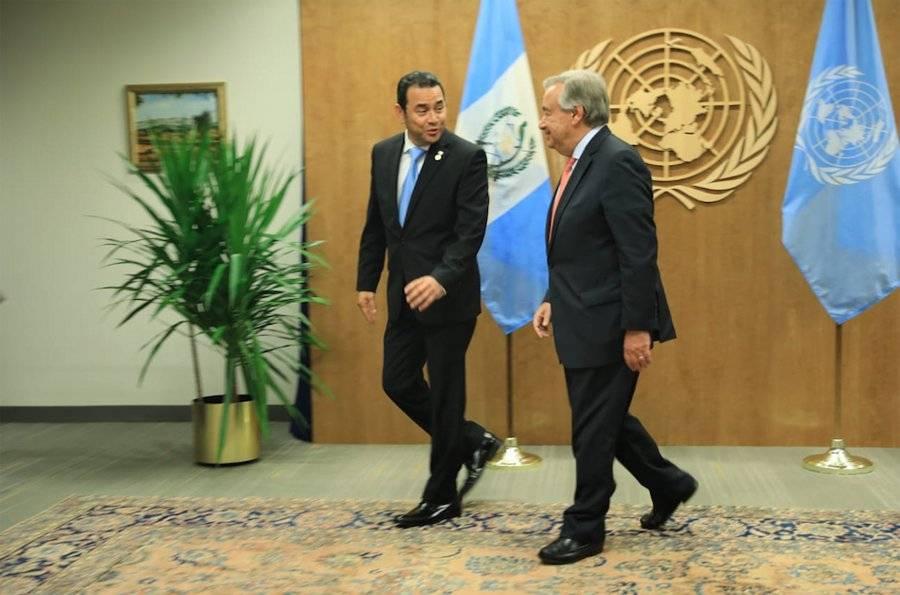 Jimmy Morales, presidente de Guatemala, con António Guterres, secretario general de la ONU. Foto: Gobierno