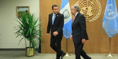 Jimmy Morales y António Guterres