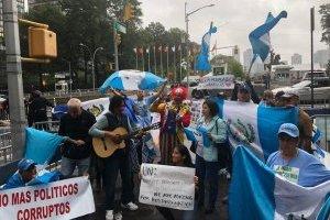 Manifestación frente a sede de la ONU