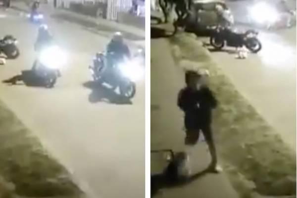 cuando estaban a punto de robarse una moto en Bogotá, delincuentes salieron corriendo
