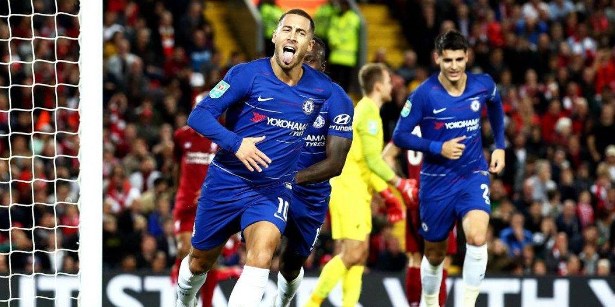 El golazo de antología de Hazard que permitió al Chelsea eliminar a Liverpool de la Copa de la Liga