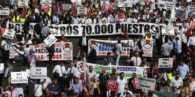 Protestas en España por ley anti Uber
