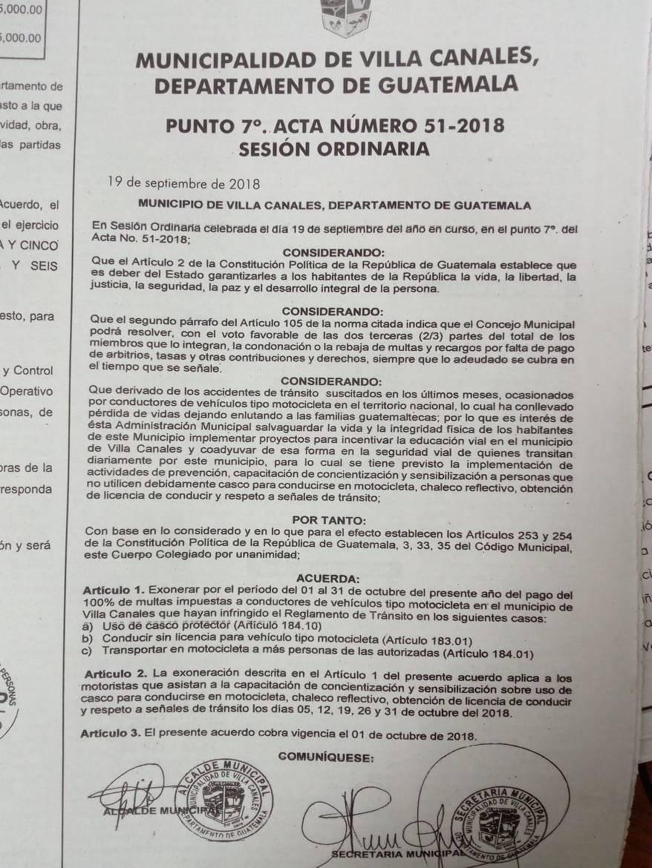exoneración de multas para motoristas en Villa Canales
