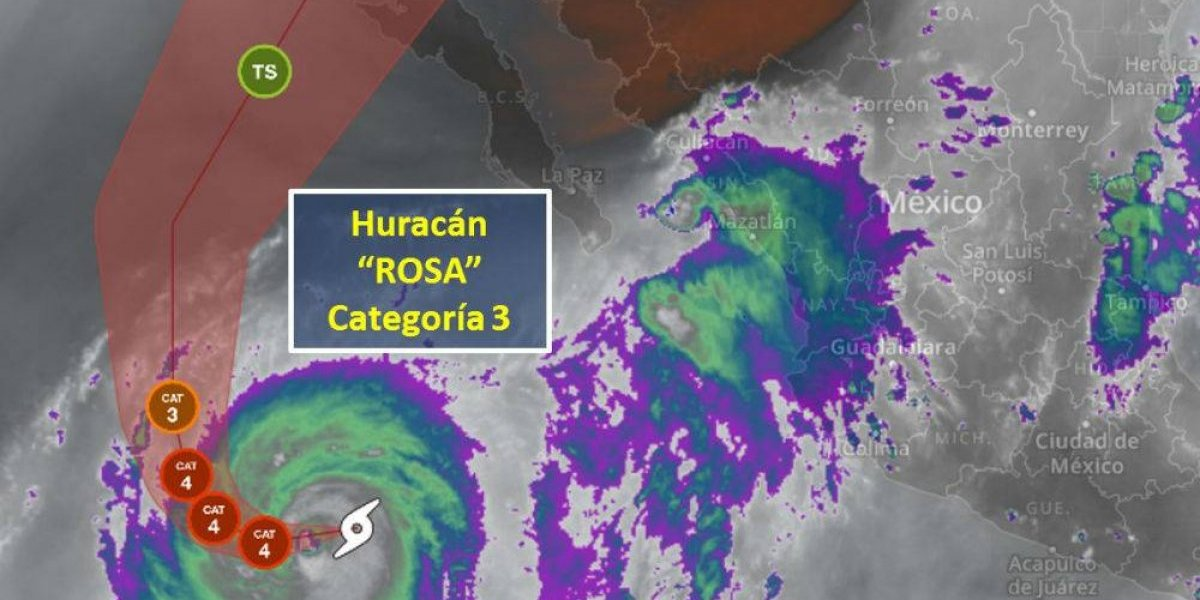Huracán Rosa se intensifica y alcanza categoría 3