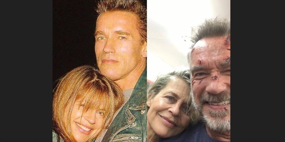 O Exterminador do Futuro: Schwarzenegger e Linda Hamilton recriam foto clássica