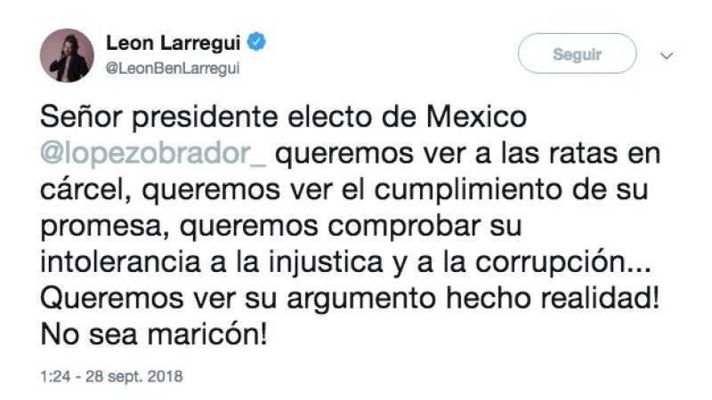 Larregui se lanza en contra de AMLO