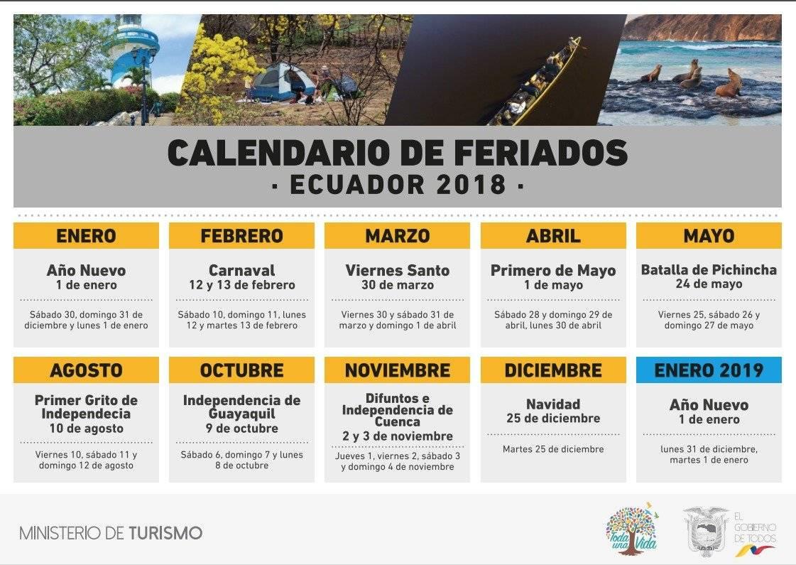 Calendario de feriados Ecuador 2018