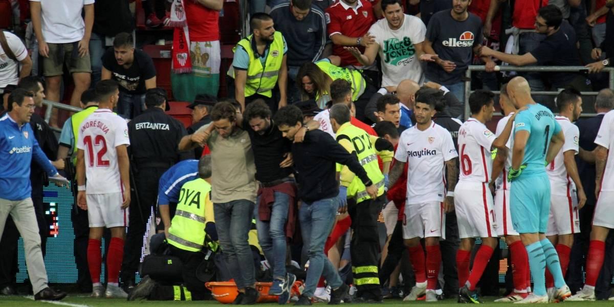 Se desploma tribuna del estadio del Éibar en celebración de un gol del Sevilla