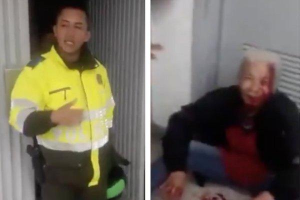 policía habría golpeado anciana que aparentemente estaba robando en Bogotá