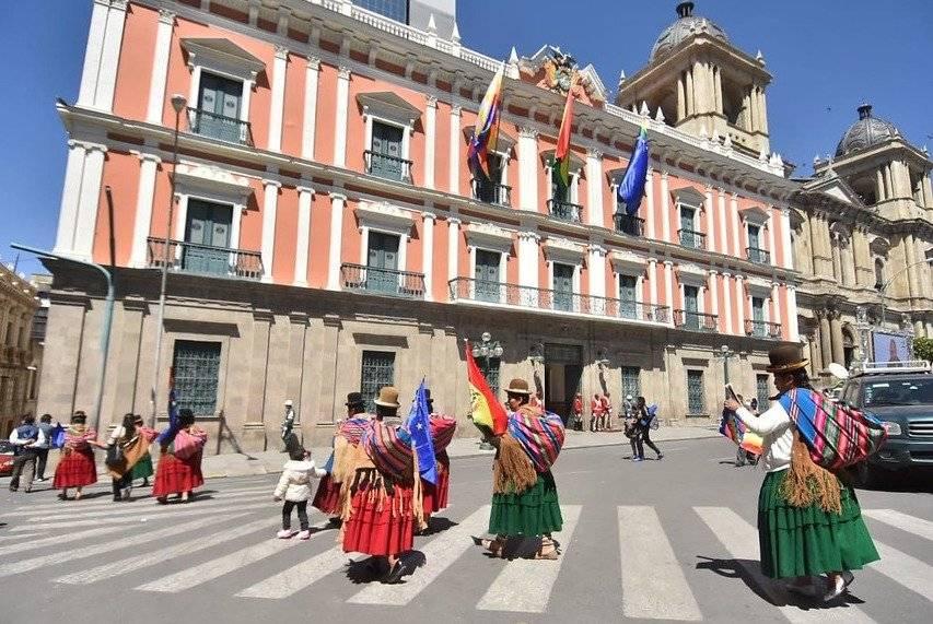 Manifestaciones en Plaza Murillo