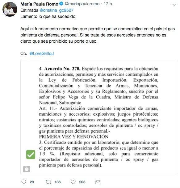 Tweet María Paula Romo