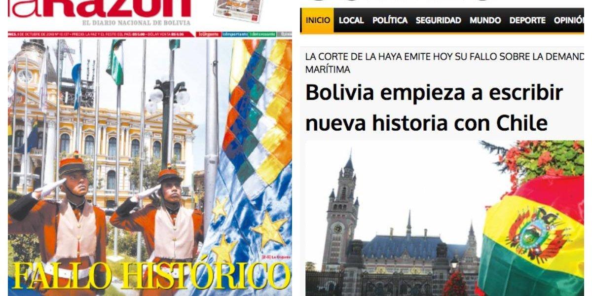 """""""Día decisivo"""" y """"Fallo histórico"""": así se vive en los medios bolivianos el dictamen de la corte de La Haya sobre la demanda marítima"""