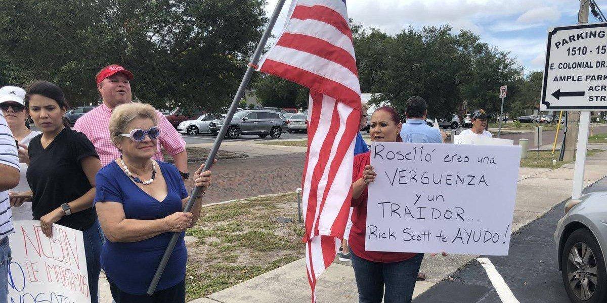 Miriam Ramírez de Ferrer llama traidor a Rosselló durante protesta en Orlando