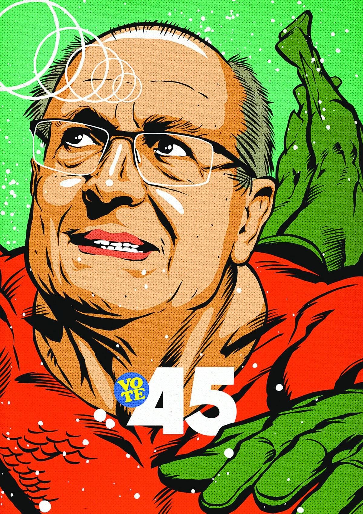 """Geraldo Alckmin. """"Quis referenciar a crise hídrica de São Paulo em 2015, em que ele esteve diretamente envolvido. Além disso, depois é que percebi que o sobrenome dele era até parecido com Aquaman""""   Divulgação/Butcher Billy"""