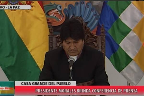 Evo Morales en declaración a la prensa. captura