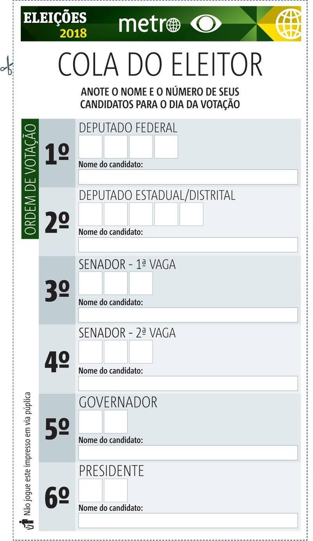 Eleições 2018 Faça Download E Imprima A Cola Para Votar
