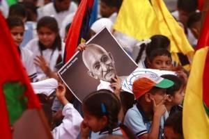 Recuerdo a Mahatma Gandhi en la India