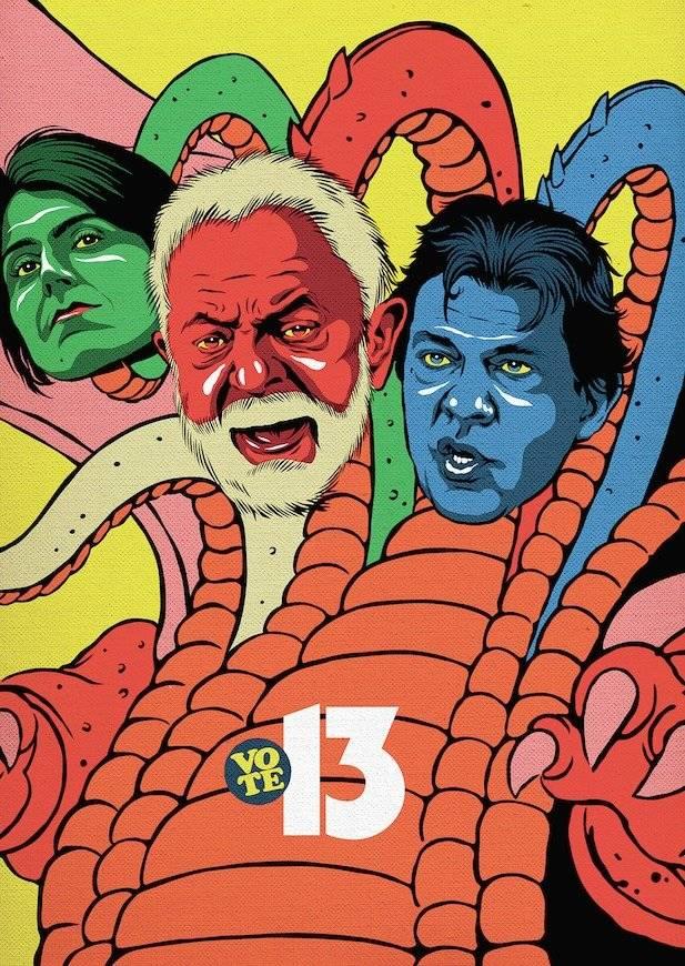 """Fernando Haddad. """"É o Tiamat, dragão de 5 cabeças do desenho dos anos 80, 'Caverna do Dragão'""""   Divulgação/Butcher Billy"""
