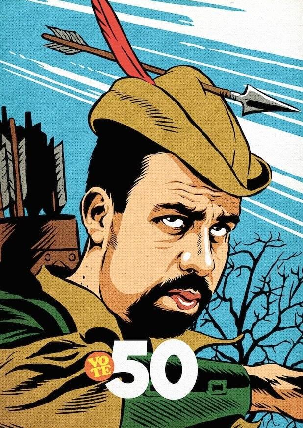 """Guilherme Boulos. """"É um Robin Hood, que tira dos ricos e dá para os pobres, com uma das suas próprias flechas atravessada de forma invertida, de maneira simbólica, no seu chapéu""""   Divulgação/Butcher Billy"""
