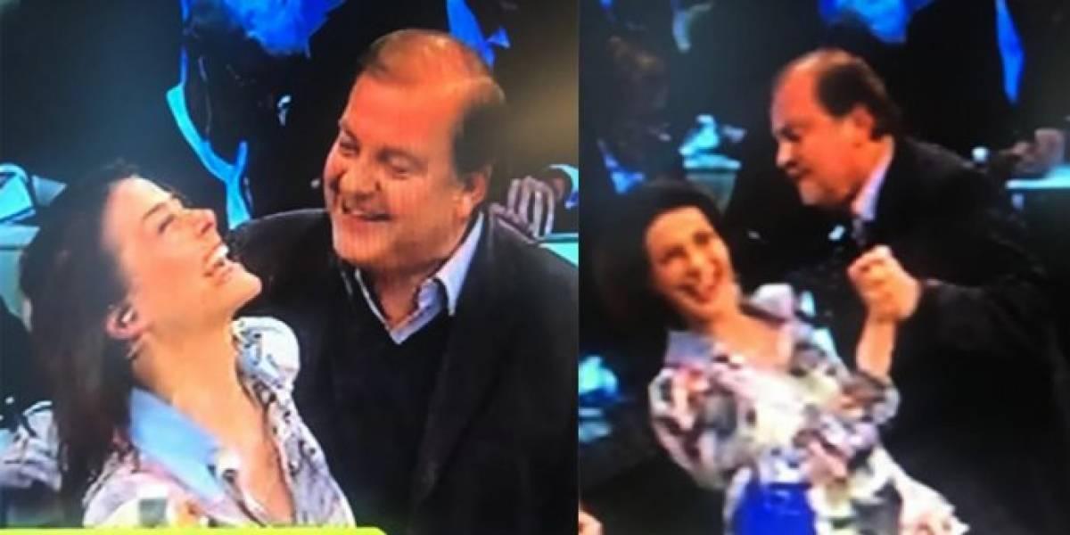 La incómoda reacción de Tonka Tomicic cuando el ex ministro Francisco Vidal intentó darle un beso