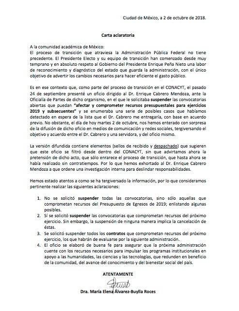 Equipo de AMLO aclara carta sobre suspensión de convocatorias en Conacyt