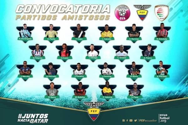 Los 21 convocados para la Selección de Ecuador para medir a Qatar y Omán