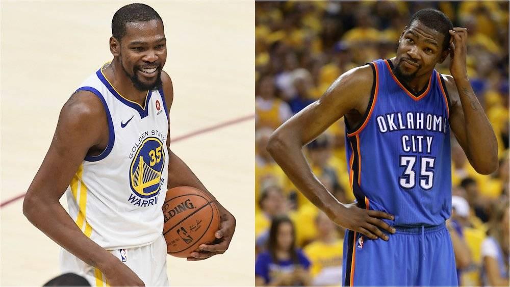Kevin Durant pasó del Thunder de Oklahoma City a los Warriors de Golden State. / Getty Images