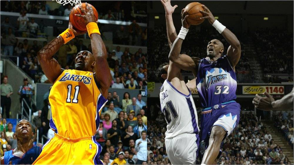 El legendario Karl Malone dejó al Jazz de Utah para buscar el título con los Lakers. / Especial