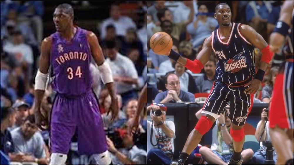 Fue raro ver a Hakeem Olajuwon con el morado de Raptors en lugar del rojo de Rockets. / Especial